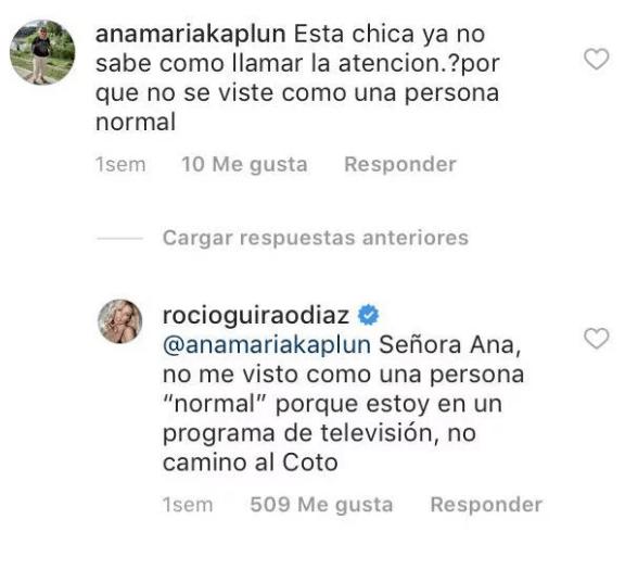 Criticó a Rocío Guirao Díaz por su osado look y ella le respondió duramente — Quedó mudita
